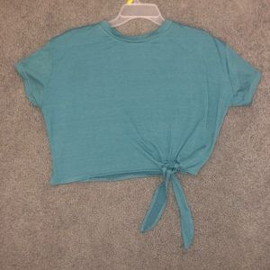Cropped Turquoise Tie-Up Top